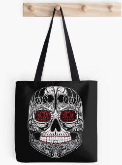 Monica's Sugar Skull by Amy Brown of Mastiff Studios printed on a black canvas tote bag