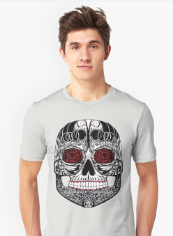 Monica's Sugar Skull by Amy Brown of Mastiff Studios on a t-shirt