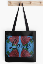 Four Roses and Hearts with Love printed on a tote bag.