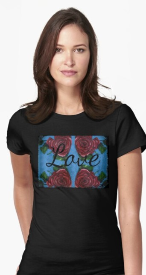 Four Roses and Hearts with Love by Amy Brown is printed on a women's t-shirt.