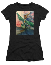 Belly Dancer with Wings by Amy Brown of Mastiff Studios on a women's t-shirt.