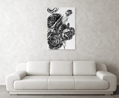 Peonies Line Drawing by Amy Brown of Mastiff Studios on a poster above a sofa.