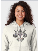 Fleur de lis by Amy Brown of Mastiff Studios  illustration for sale on sweatshirt