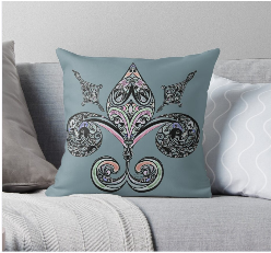 Fluer de lis by Amy Brown featured on throw pillow for sale