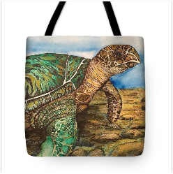 Howkbilled Sea Turtle tote by Amy Brown of Mastiff Studios